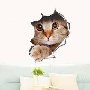 Removable View Cute Cat 3D Wall Sticker Bathroom Toilet Kids Room Decoration