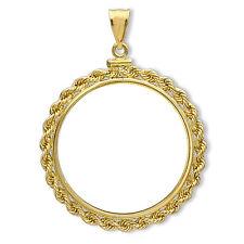 14K Gold Screw-Top Rope Polished Coin Bezel - 21.5 mm - SKU #63640