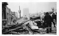 RPPC 1933 Long Beach Earthquake 1st Street - REAL PHOTO Disaster POSTCARD