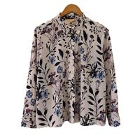 Noni B Women's Floral Shirt/Blouse Size 16 Button Up Long Sleeves Good Condition