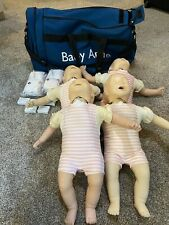 Lot of 4 Laerdal CPR Lung Baby Anne Manikins & Carry Bag #4a