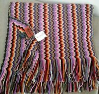 NWT Missoni Italy, Purple Zig Zag Knit Long Wool Blend Scarf w/Fringe