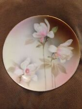 "RS Germany Porcelain 8 1/4"" Pink White Brown Floral Plate Gold Rim"