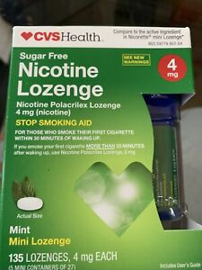 CVS Nicotine Mini Lozenge 4 mg Sugar Free. Mint Flavor 135 LOZENGES. EXP - 3/21