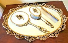 New Listing24K Gold Plate Vanity Set Tray, Brush, Hand Mirror Matson Usa