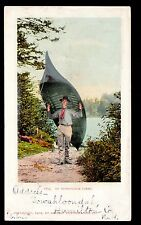 1902 man carries Canoe Adirondack Mountains New York postcard