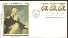 US SC #1851 8C Henry Knox.Strip of 3. Colorano Silk Cachet.
