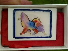 Hand painted Ceramic Rainbow style Papillon Butterfly Dog Art brooch pin