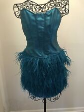 "BETSEY JOHNSON  DRESS Turquoise ""Kawaii"" OSTRICH FEATHER SZ 4 RARE & HTF!!!"