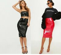 Womens Celebrity Shiny PVC Wetlook Womens Bodycon Vinyl Pencil Midi Party Skirt