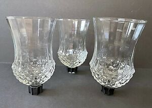 3 Vintage Homco ? Clear Peg Votive Candle Holders Diamond Pattern Ribbed Sides B