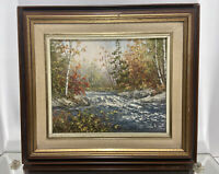 VTG. Canadian Fall Landscape Mary Kendrick Oil Painting Cottage Country