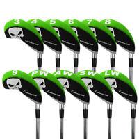 11pcs Golf Head Cover Club Wedge Iron Protective Headcovers Neoprene Green Set