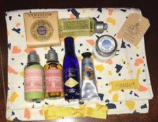L'Occitane 7 Piece Travel Size Lot Shampoo Conditioner Soap Shower Gel Cream Bag