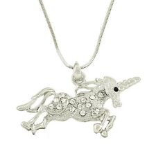 "Unicorn Charm Pendant Fashionable Necklace - Sparkling Crystal - 18"" Chain"