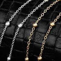 1Pcs Woman Stainless Steel Bracelet Chain Bead Anklets Smooth Silver Jewelry