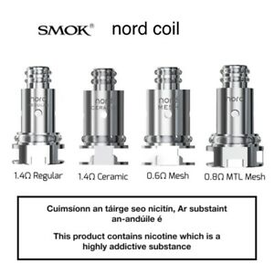 100% AUTHENTIC Smok Nord Replacement Coils 5 Pack Regular1.4 Mesh 0.6 MTL 0.8
