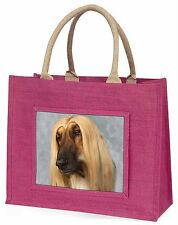 Afghan Hound Dog Large Pink Shopping Bag Christmas Present Idea, AD-AG1BLP