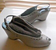 Thierry Rabotin Italy~Art to Wear~Clarissa Slingback Mushrrom Wedge Shoes 36.5