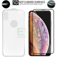 For Apple iPhone XS MAX Front + Back Tempered Glass Screen Protector 5D White