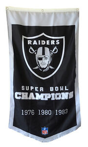 Oakland Raiders 3 TIME Super bowl Champions  Flag Banner Man Cave 30x50Inch
