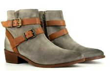 Hudson London Meeya Womens UK 6 EU 39 US 8 Grey Suede Zip Up Ankle Boots