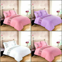 Hannah Diamante Lace Duvet/Quilt Cover Polycotton Bedding Set Single Double King