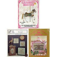 3 Vintage Cross Stitch Patterns - Carousel Horses - Merry Go Round 1988 EUC