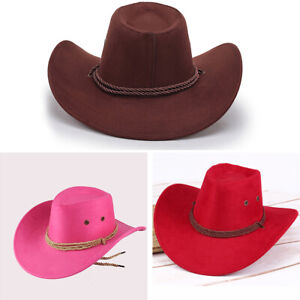 Unisex Wool Cowboy Hat Western Cap Panama Wide Brim Sombrero Sunhat