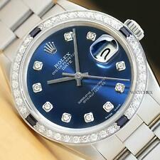 ROLEX MENS 34MM OYSTER PERPETUAL DATE 18K WHITE GOLD DIAMOND SAPPHIRE WATCH