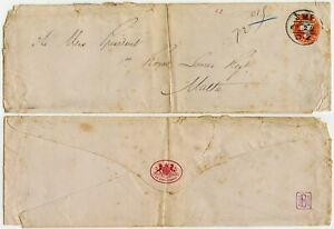 GB QV PRINTED RATE to MALTA 1896 1/2d STATIONERY STO ROYAL WARRANT ...FAULTS