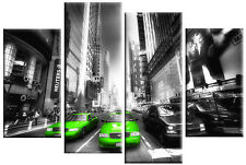 LIME GREEN TAXIS ON GREY NEW YORK CANVAS PICTURE SPLIT MULTI ARTWORK 100cm wide
