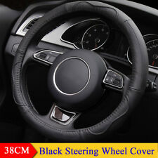 "38CM 15"" Car Steering Wheel Cover Black Cowhide Genuine Leather Hand-stitched"