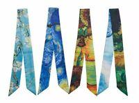 Twilly Scarf Silky Ribbon Set 4 Pieces Van Gogh's Paintings Handbag Handle Wrap