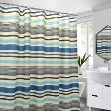 "Colorful Blue Stripes Mediterranean Style Fabric Shower Curtains Liner 72"" x 72"""