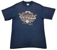 Vintage New York Yankees 1993 Single Stitch Trench Ultra MLB Size L Mens T Shirt