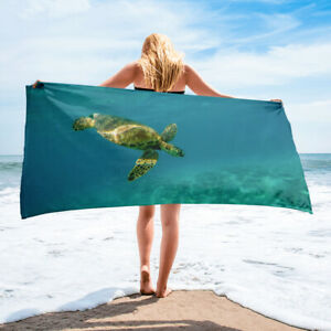 Ocean Sea Turtle Beach Towel Aqua Blue Green