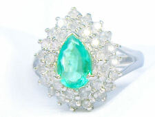 Striking 1.99ct Diamond & Emerald 18K White Gold Ring
