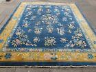 Antique Shabby Chic Worn Hand Made Art Deco Chinese Blue Wool Carpet 310x273cm