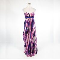 Lavender purple ivory abstract 100% silk BCBG MAX AZRIA sleeveless maxi dress 6