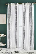 Anthropologie Curtain Panel white gray Mia Print Slub Cotton Single 50 x 108 NEW