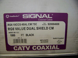 Southwire Signal Coaxial Cable RG6 Value Dual Shield CM Black Rated 920084608