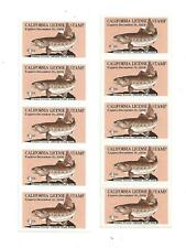 U S stamp Caf1 California Trout stamp 1958 lot of 2 panes of 5 mint cv 120.00