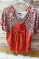 Brocade Small Orange Sheer Women's Shirt