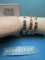 3 Nolan Miller Gemstone On Gold Tone Bangle Bracelets Red, Blue, Green Jewelry