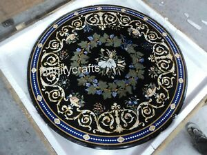 Vintage Art and Crafts Marble Meeting Table Top Round Shape Coffee Table 40 Inch
