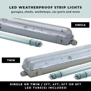 LED WEATHERPROOF STRIP LIGHT 2FT - 6FT NON CORROSIVE SINGLE OR TWIN GARAGE LIGHT