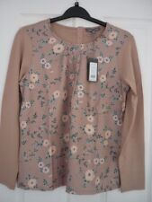 LAURA ASHLEY SANDSTONE FLORAL JERSEY & CREPE TOP. UK 12 EUR 38-40, US 8. BNWT