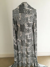 Printed Patchwork /Tile Design on Polyester/lycra Jersey Dressmaking Fabric