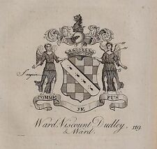1779 ANTIQUE PRINT ~ WARD ~ FAMILY CREST COAT OF ARMS VISCOUNT DUDLEY & WARD